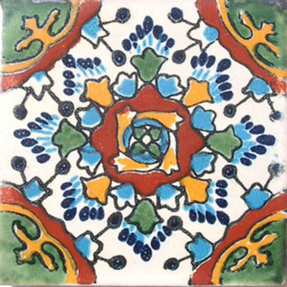 "4""x4"" Mexican Ceramic Handmade Tile C032."