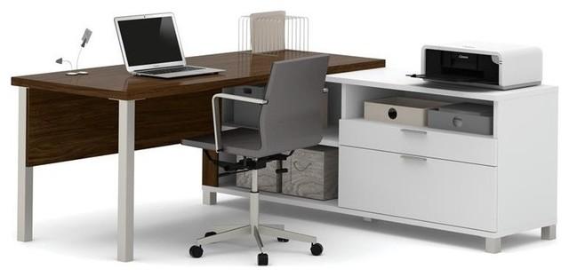 Bestar Pro-Linea L-Desk, White And Oak Barrel.