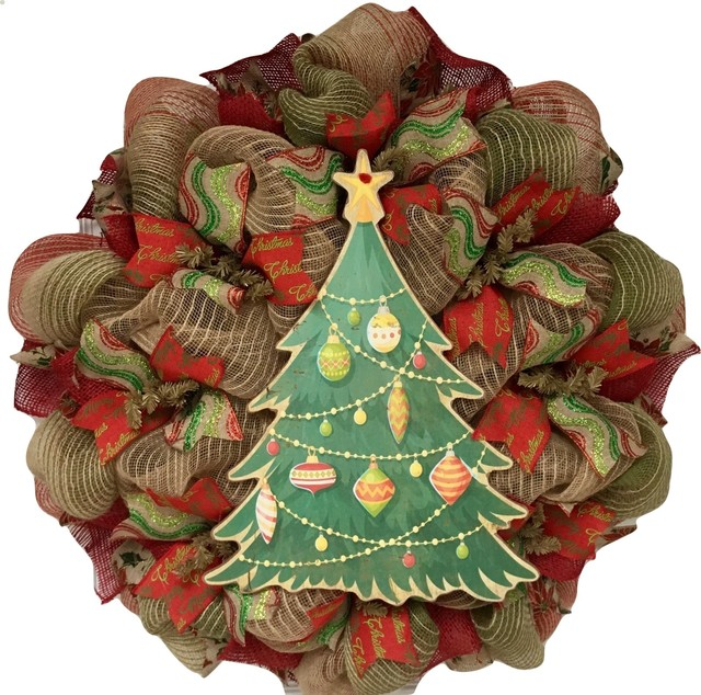 burlap christmas tree deco mesh handmade wreath