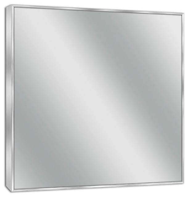 Spectrum Brush Nickel Wall Mirror, 30 X 36.