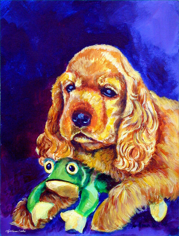 Cocker Spaniel With Frog Flag Canvas Contemporary Flags And Flagpoles By The Store