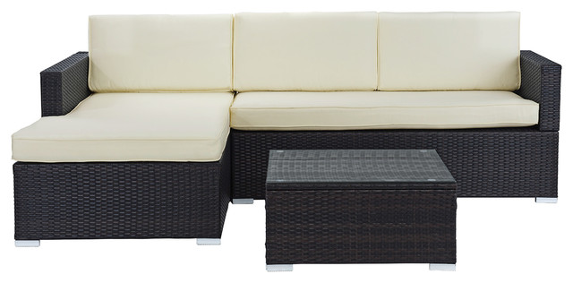Modern Outdoor Garden Sectional Wicker Sofa Set With Coffee Table, Brown.