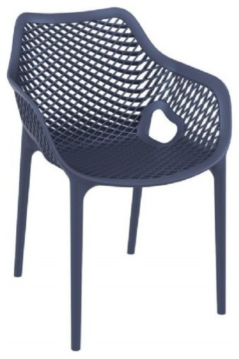 Air Extra Large Outdoor Dining Arm Chair, Dark Gray.