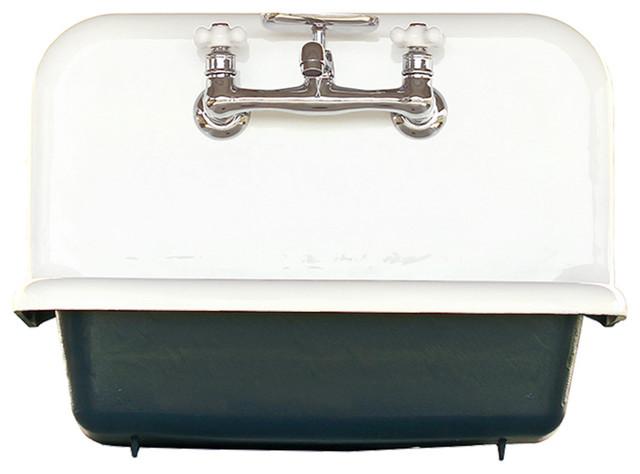 Antique Style High Back Farm Sink Cast Iron Porcelain Wall