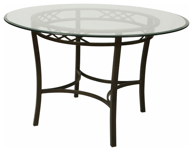 Round Glass Dining Table 48 Inches: Pastel Atrium 48 Inch Round Bevel Glass Dining Table In