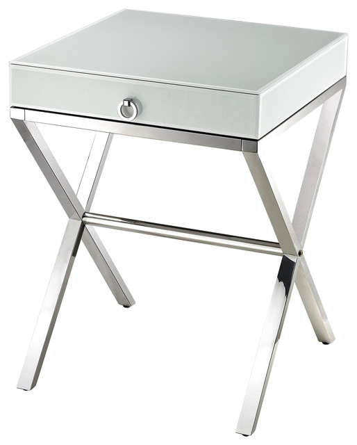 White Glass Side Table Contemporary Side Tables And End Tables