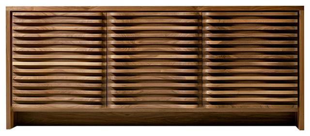 Alma Sideboard, Solid American Walnut, Natural Walnut Finish, Defined Shapes