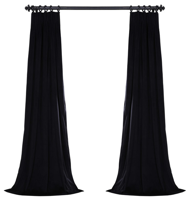 "Signature Pleated Blackout Velvet Curtain Single Panel, Warm Black, 25""x120""."