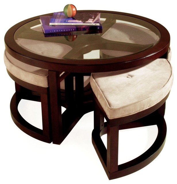 Ordinaire Magnussen T1020 Juniper Wood Round Coffee Table With 4 Stools