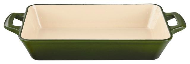 Small Deep Cast Iron Roasting Pan With Enamel Finish, Green.