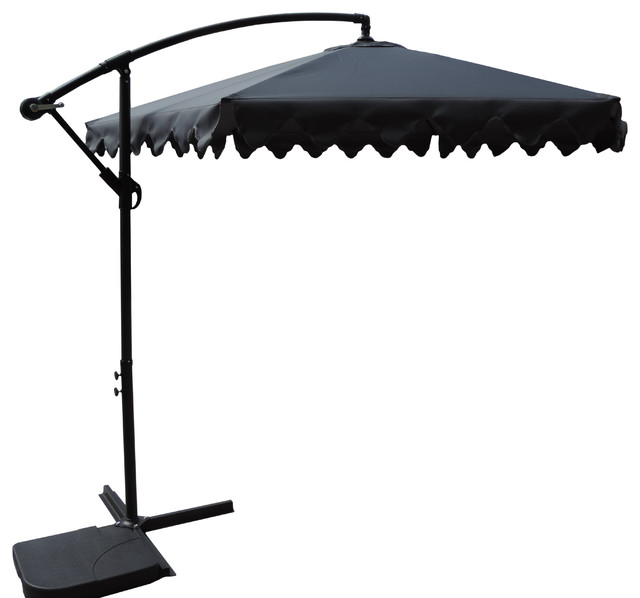 Offset Designer Cantilever Scalloped Patio Umbrella, Adjustable Tilt, Gray, 10'