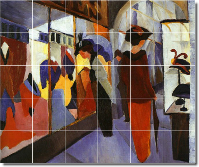 August macke abstract painting ceramic tile mural 4 for Ceramic mural painting