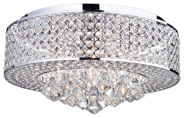 "Wendu 17"" Round Crystal Lamp, Chrome."