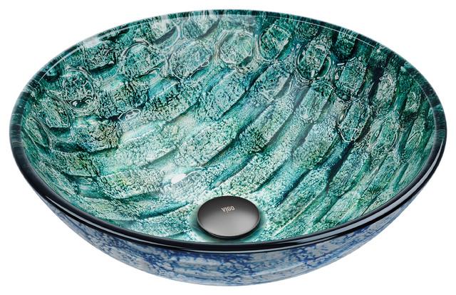 VIGO Glass Vessel Bathroom Sink, Oceania