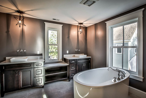 Here Is The Master Bathroom Featuring A Custom Dual Sink Vanity, Soaking  Tub, And A Glass Enclosed Tile Shower. Let Us Know What You Think!