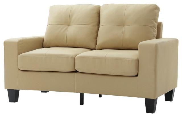 Newbury Faux Leather Modular Love Seat, Beige.