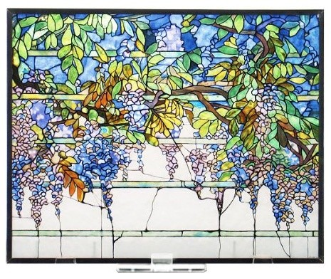 Tiffany Wisteria Stained Gl Panel