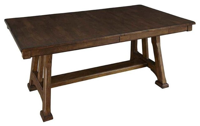 Trestle Table With Butterfly Leaf In Warm Pecan Finish Dining Tables
