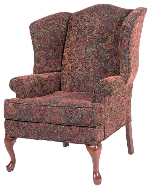 paisley wingback chair red