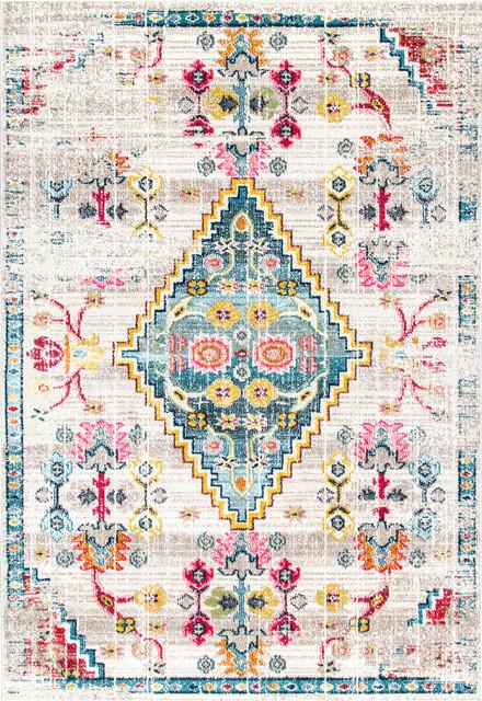Nuloom Southwestern Fading Floral Gabbeh Area Rug, Ivory, 8&x27;x10&x27;.