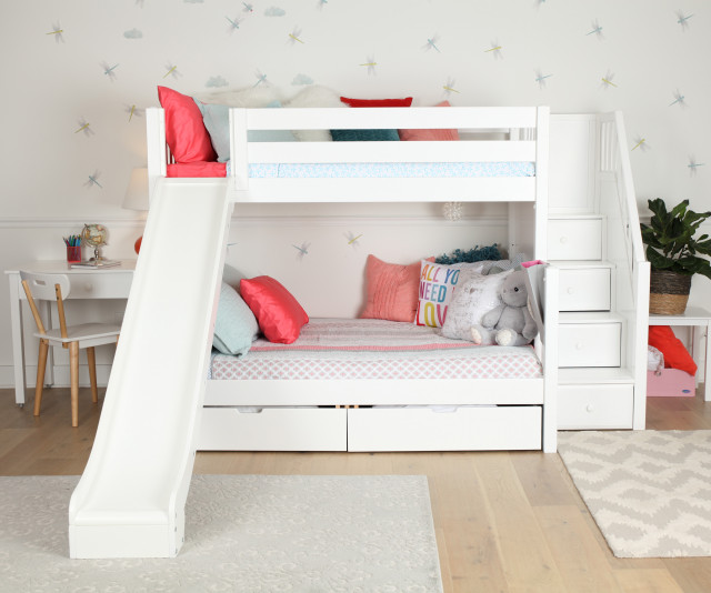 White Twin Over Full Bunk Bed With Stairs Slide And Storage Shabby Chic Style Kids Other By Maxwood Furniture Inc Houzz