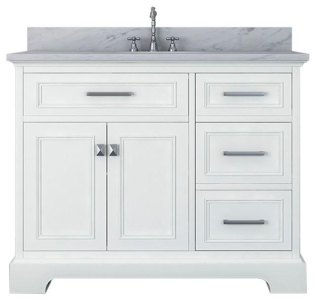 Pittsburgh 43 Single Bathroom Vanity White Transitional Bathroom Vanities And Sink Consoles By Kolibri Decor