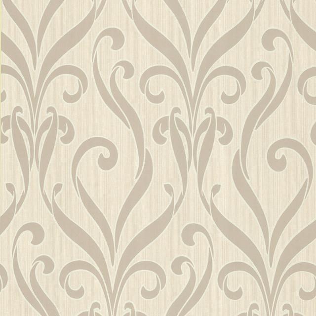 medusa taupe swirl modern damask wallpaper bolt contemporary wallpaper - Contemporary Damask Wallpaper