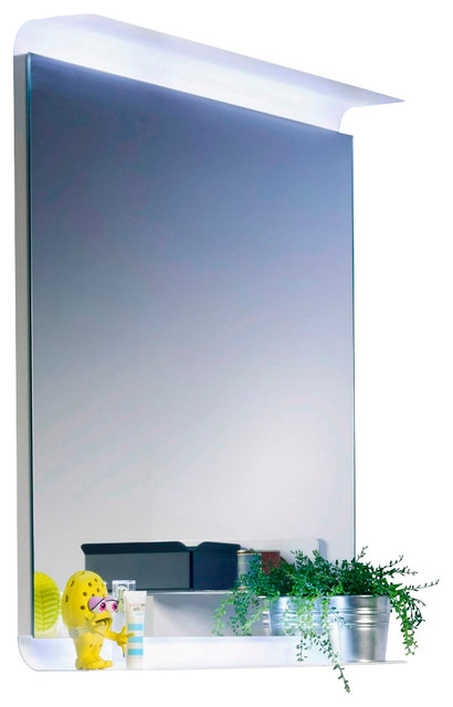 curva 5689 led lighted wall mirror with shelves. Black Bedroom Furniture Sets. Home Design Ideas