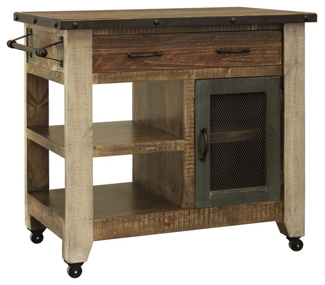 In Stock Bayshore Rustic Solid Wood Kitchen Island 39 Farmhouse Kitchen Islands And Kitchen Carts By Crafters And Weavers Houzz