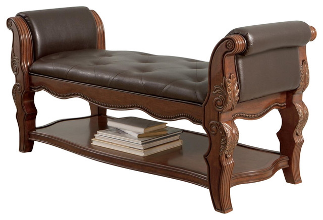 Ledelle Upholstered Bench, Brown.