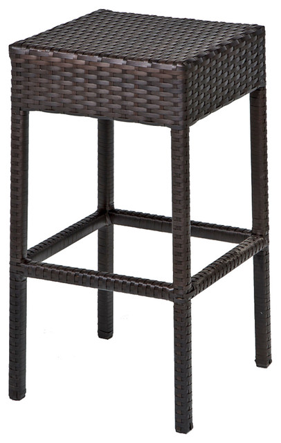 Tkc Napa Backless Outdoor Wicker Bar Stools In Espresso Set Of 2