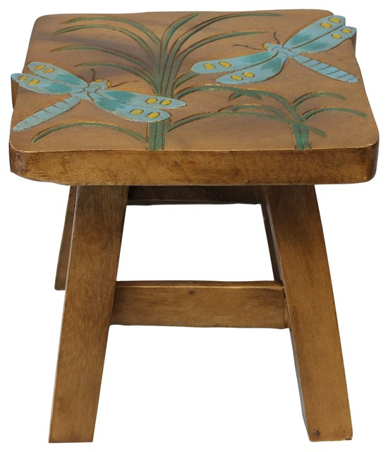 Cool Teal Blue Dragonfly Wood Step Stool Painted 10 75 Inches Creativecarmelina Interior Chair Design Creativecarmelinacom