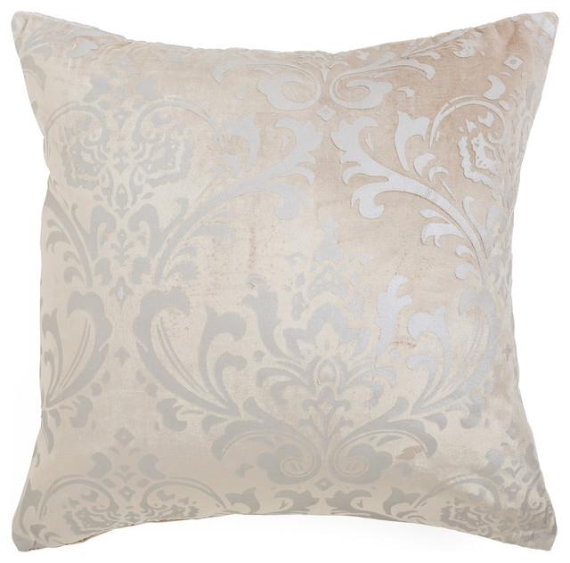 Damask Velvet Pillow Cover, Beige.