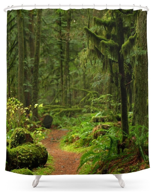 Society6 The Deep Woodland Path, Shower Curtain Contemporary Shower Curtains