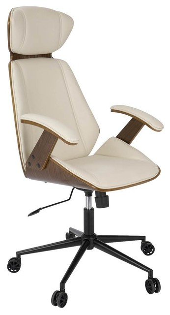 modern walnut wood office chair cream contemporary office chairs