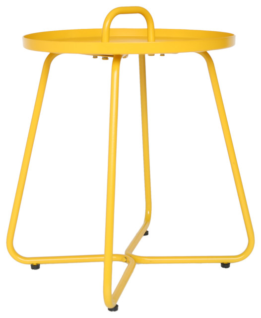 Amy Outdoor Aluminum Side Table, Matte Yellow.