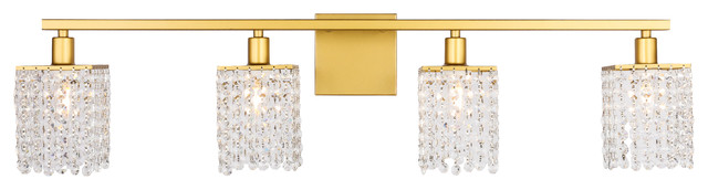 Brass Finish And Clear Crystals 4-Light Wall Sconce