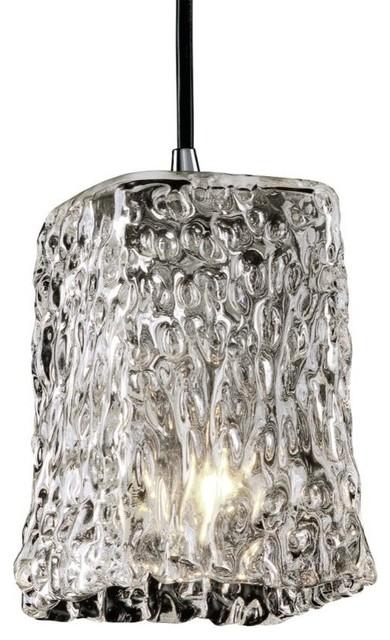 Justice Design Veneto Luce Small 1-Light LED Pendant, Polished Chrome