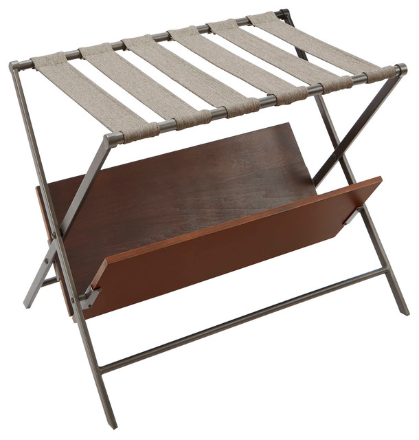Thomas Metal Folding Luggage Rack With Wooden Storage Shelf Industrial Closet Organizers