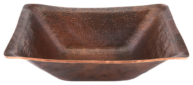 Pvrec17 rectangle hand forged old world copper vessel for Rectangular copper bathroom sink
