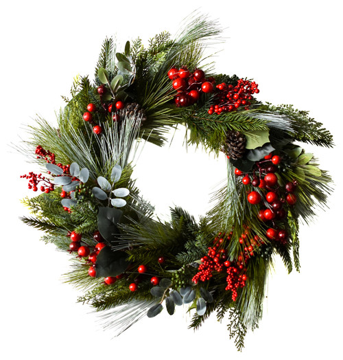 "Cedar Berry Wreath, 22"""