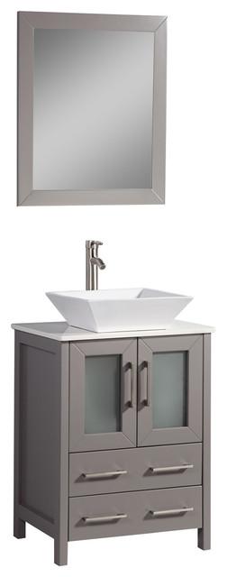"Vanity Art Vanity Set With Vessel Sink, Gray, 24"", Standard Mirror"