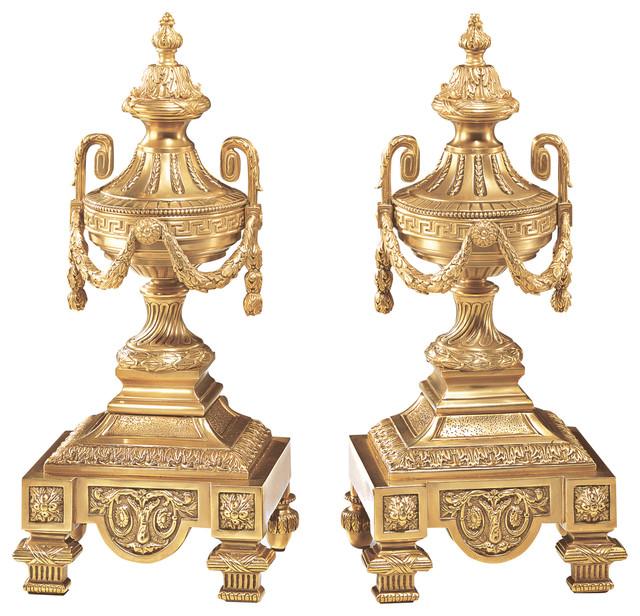 Decorative Crafts Brass Andirons.