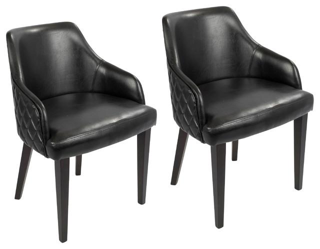 LumiSource Esteban Dining Chair, Set of 2, Espresso and Black