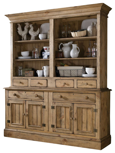 Kincaid Homecoming Solid Wood Open Hutch With Buffet Vintage Pine China Cabinets And