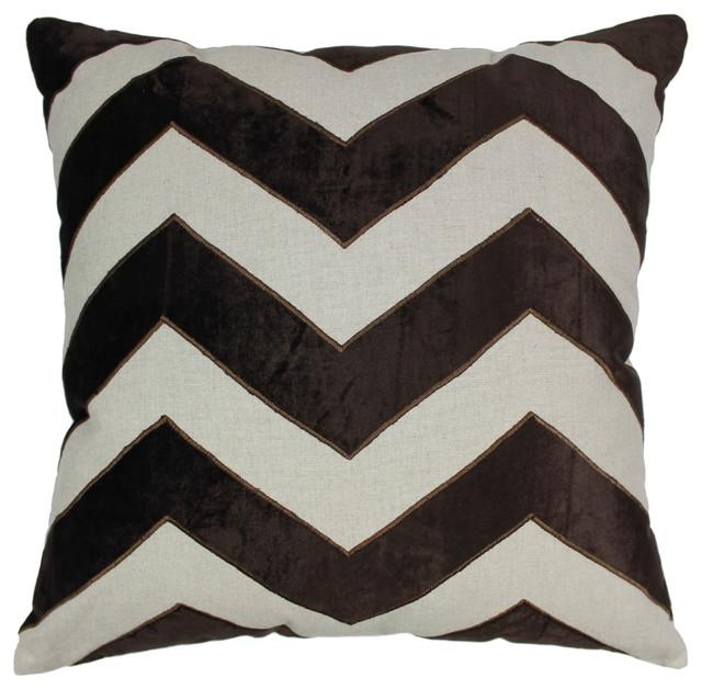 40 Indian Chevron Velvet Applique Throw Pillow Black VelvetIvory Beauteous Fabric For Decorative Pillows