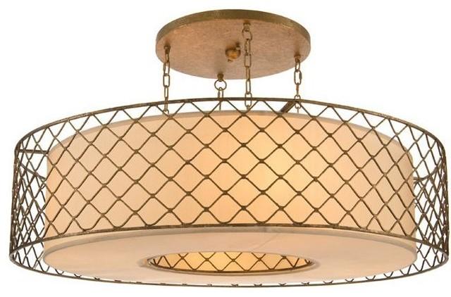 John Richard Four Light Brass Caged Pendant Contemporary