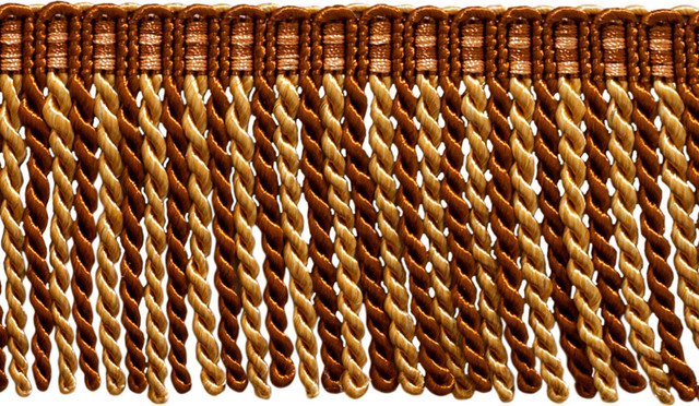 "Beige 3/"" Tassel Fringe Trim English Toffee By The Yard Bronze Copper"