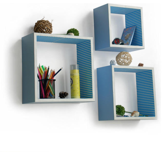 Powder Blue Square Leather Wall Floating Shelf 40Piece Set New White Square Floating Shelves