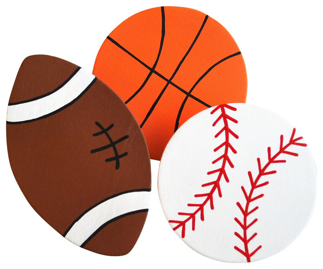 Sports Balls Quilt Clips Set Of 3 Baseball Basketball Football Contemporary Kids Bedding